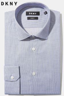 DKNY Slim Fit Navy Single Cuff Stripe Shirt