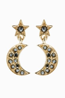 18 Carat Gold Plated Pave Moon Stud Earrings