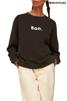 Whistles Black Bon Slogan Sweater
