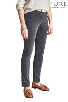 Pure Collection Pewter Washed Velvet Jeans