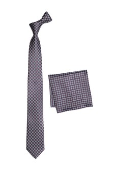 Geometric Tie And Pocket Square Set