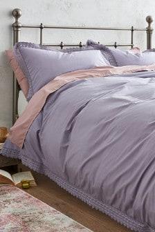 Set mit Bettbezug und Kissenbezug aus gewaschener Baumwolle mit Spitzenborte
