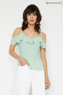 Warehouse Blue Ruffled Cold Shoulder Top