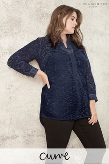 Live Unlimited Navy Jacquard Burnout Blouse