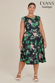 Evans Multi Dark Curve Print Dress
