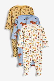 3 Pack Multi Animal Print Sleepsuits (0mths-2yrs)