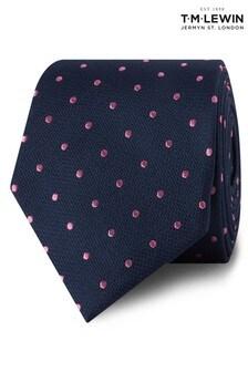 T.M. Lewin Navy/Pink Spot Silk Tie