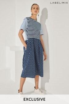 Mix/J.Won Spot Stripe Jersey Dress
