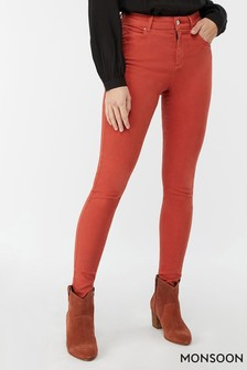 Monsoon Ladies Orange Nadine Over Lap Pocket Regular Jean