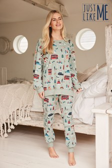 Matching Family Womens London Bus Pyjamas