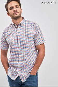 GANT Broadcloth Gingham Regular Short Sleeved Shirt