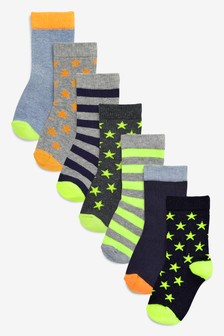Lot de sept paire de chaussettes à  rayures et étoiles (Enfant)