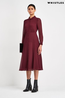 Whistles Burgundy Carrie Midi Dress