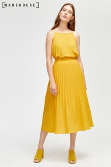 Warehouse Yellow Pleat Skirt