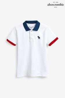 Abercrombie & Fitch White/Blue Stripe Polo