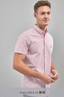 Obleková pásikavá strečová košeľa s krátkymi rukávmi