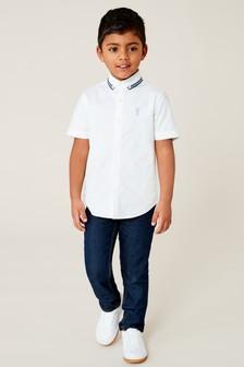 Рубашка с короткими рукавами и декоративной отделкой лентой на воротнике (3-16 лет)