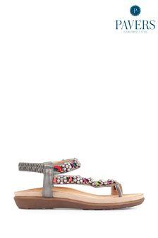 Pavers Pewter Ladies Embellished Toe-Post Sandals