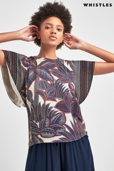 Whistles Navy Palm Print Top