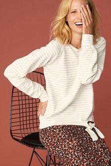 Stripe Tie Side Sweatshirt