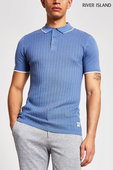 River Island Light Basket Weave Knitted Polo