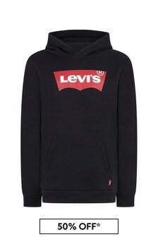 Levis Kidswear Boys Black Cotton Hoody