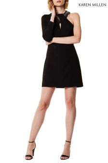 Karen Millen Black Jewelled Neckline Dress