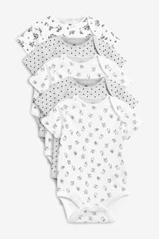 5 Pack Floral Bunny Short Sleeve Bodysuits (0mths-2yrs)