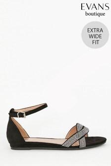 Evans Extra Wide Fit Black Diamanté Mini Wedge Heels
