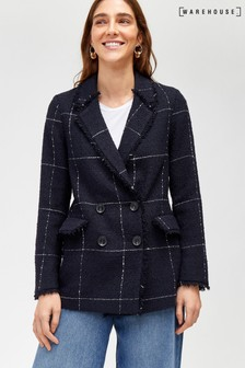 Warehouse Navy Check Tweed Blazer Jacket