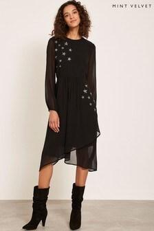 Robe mi-longue à motif étoile Mint Velvet noire