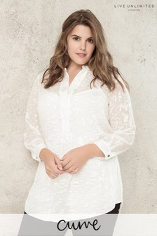 Live Unlimited Ivory Jacquard Burnout Blouse