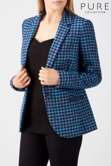 Pure Collection Blue Check Tailored Blazer