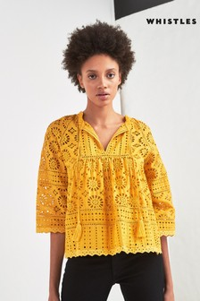 Whistles Yellow Waffle Knitted Top