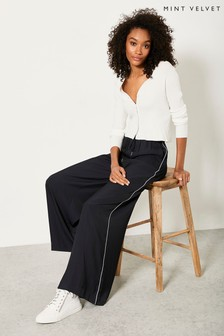Mint Velvet Navy Palazzo Wide Leg Trousers