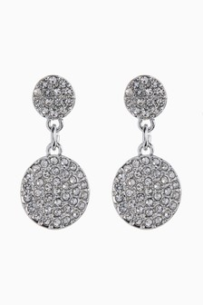 Plated Jewelled Disc Drop Earrings