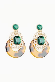 Tortoiseshell Effect Emerald Sparkle Drop Earrings