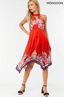 Monsoon Red Jasmine Print Hanky Hem Dress