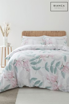Bianca Anise Floral 400 Thread Count Cotton Sateen Duvet Cover and Pillowcase Set