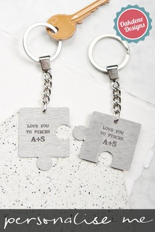 Personalised Couples Puzzle Keyring by Oakdene Designs