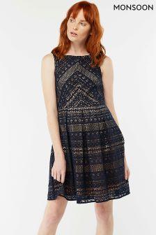 Monsoon Blue Jacey Lace Dress