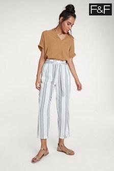 F&F White Tapered Linen Stripe Trouser