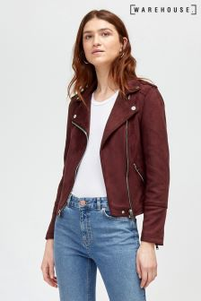 Warehouse Red Quilted Suedette Biker