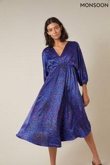 Monsoon Blue Animal Print Satin Midi Dress