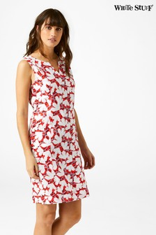 White Stuff Red Marina Linen Dress