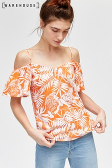 Warehouse Orange Sahara Print Cold Shoulder Top