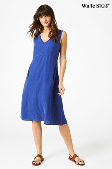 White Stuff Blue Casa Linen Dress