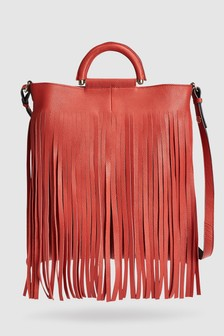 Leather Fringe Shopper