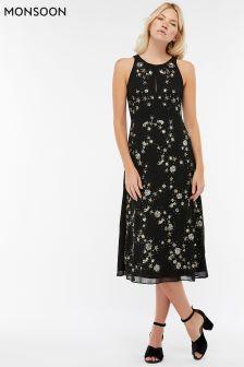 Monsoon Black Seline Star Embellished Midi Dress