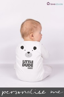 Personalised Little Dude Sleepsuit by Loveabode